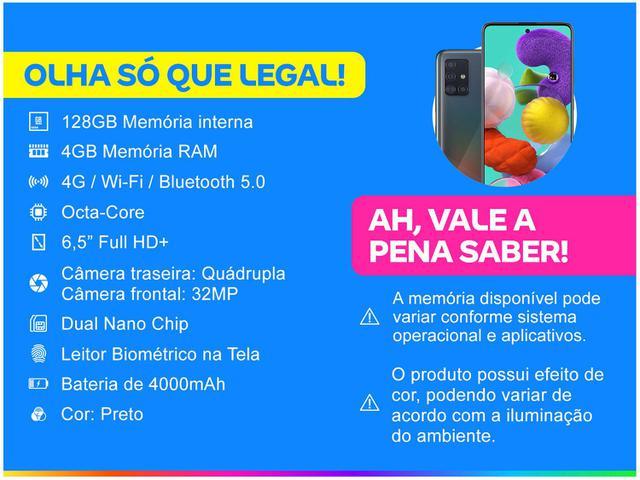 Imagem de Smartphone Samsung Galaxy A51 128GB Preto 4G
