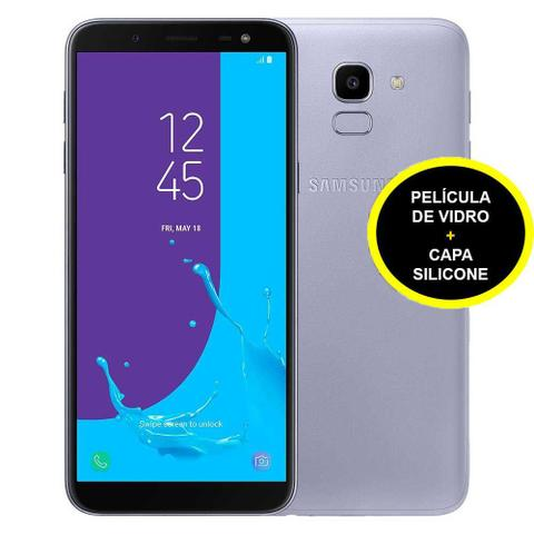 Imagem de Smartphone Samsung Galaxy J6 32GB Prata + Dual Chip 4G Câm. 13MP + Selfie 8MP Flash + Película de Vidro + Capa Silicone