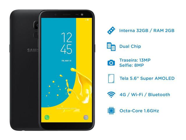 """Imagem de Smartphone Samsung Galaxy J6 32GB Preto 4G - 2GB RAM Tela 5,6"""" Câm. 13MP + Câm. Selfie 8MP"""