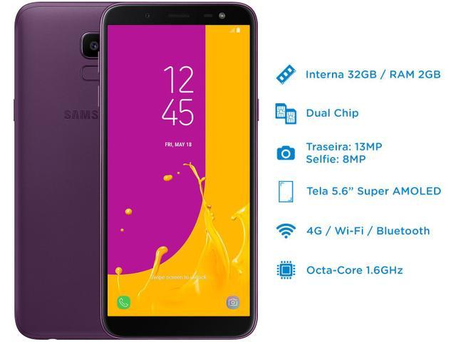 Imagem de Smartphone Samsung Galaxy J6 32GB Violeta