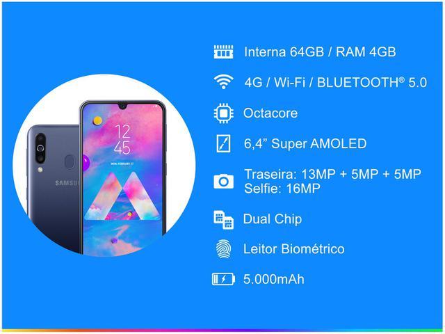 Imagem de Smartphone Samsung Galaxy M30 64GB Azul 4G