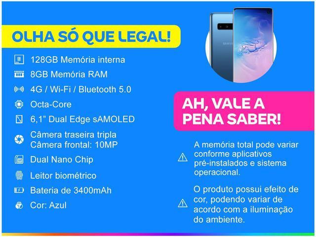 """Imagem de Smartphone Samsung Galaxy S10 128GB Azul 4G - 8GB RAM 6,1"""" Câm. Tripla + Câm. Selfie 10MP"""