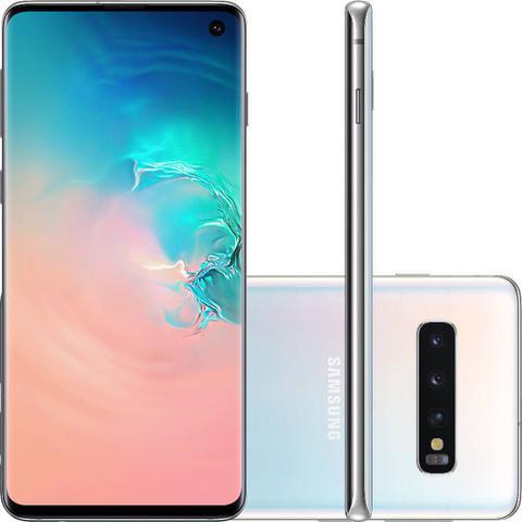 """Imagem de Smartphone Samsung Galaxy S10 128GB Branco 4G - 8GB RAM Tela 6,1"""" Câm. Tripla + Selfie 10MP"""