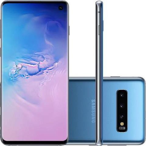 Imagem de Smartphone Samsung Galaxy S10, 128GB, Tela 6.1 Pol., Câmera Tripla Traseira 12MP + 12MP + 16MP - Azu