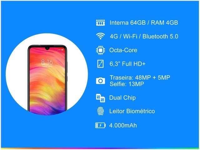 Imagem de Smartphone Xiaomi Redmi Note 7 64GB Preto 4G