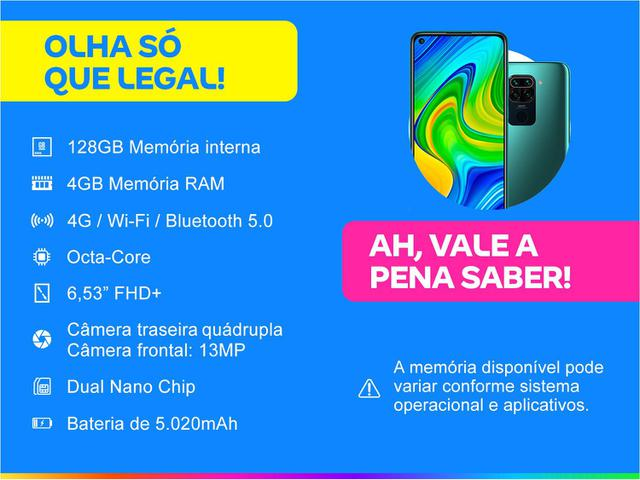 Imagem de Smartphone Xiaomi Redmi Note 9 128GB Verde 4G