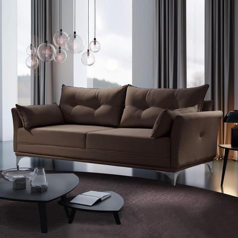 Imagem de Sofá 3 Lugares com 2 Almofadas M97 Espresso Móveis Suede Marrom Escuro