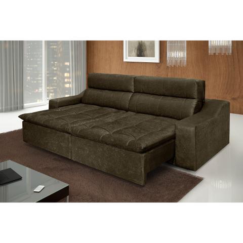 Imagem de Sofá 4 Lugares Connect com Pillow Retrátil e Reclinável Suede Amassado Marrom - Rifletti