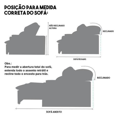 Imagem de Sofá 4 Lugares Connect Retrátil e Reclinável 2,50m Suede Amassado Cinza