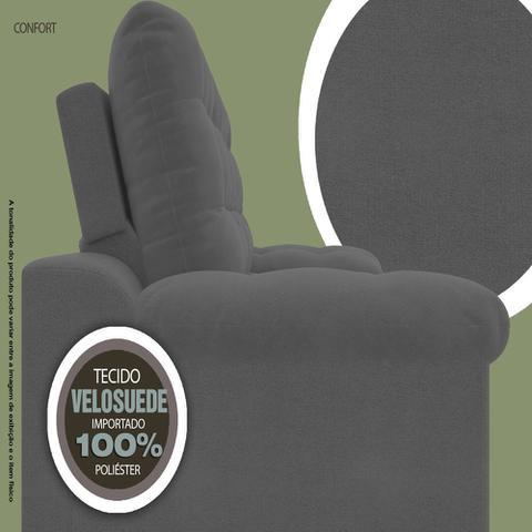 Imagem de Sofá 4 Lugares Net Confort Assento Retrátil e Reclinável Grafite 2,20m (L)
