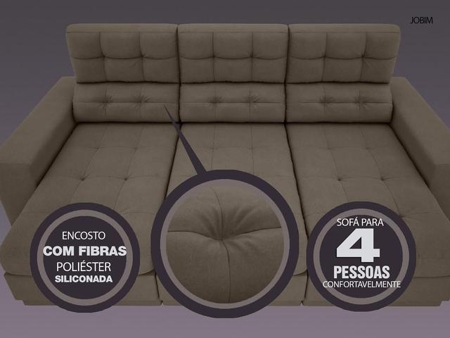 Imagem de Sofá 4 Lugares Net Jobim Assento Retrátil e Reclinável Marrom 2,30m (L)