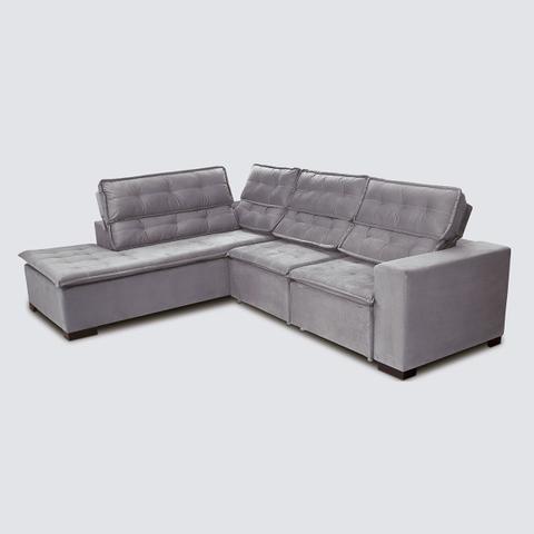 Imagem de Sofá 5 Lugares Canto 2,80x2,20 m Sttilo Retrátil e Reclinável Chaise Pillow e Molas Cinza - Megasul