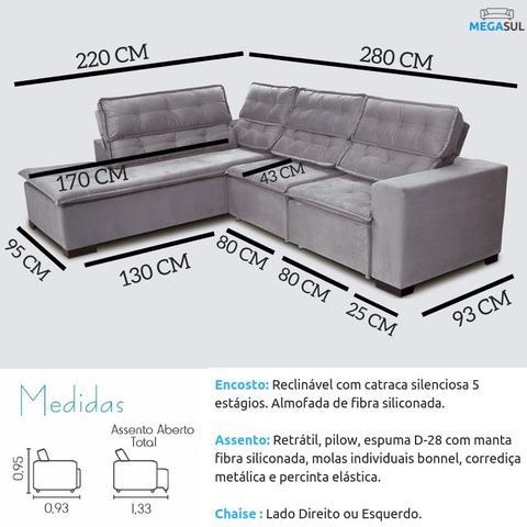 Imagem de Sofá 5 Lugares de Canto Retrátil e Reclinável com Chaise 2,80m Sttilo Bege MegaSul