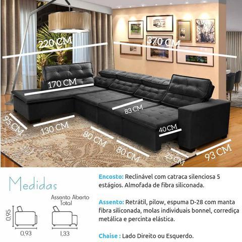 Imagem de Sofá 7 Lugares de Canto Retrátil e Reclinável Sttilo com Chaise 3,70 Marrom512 MegaSul