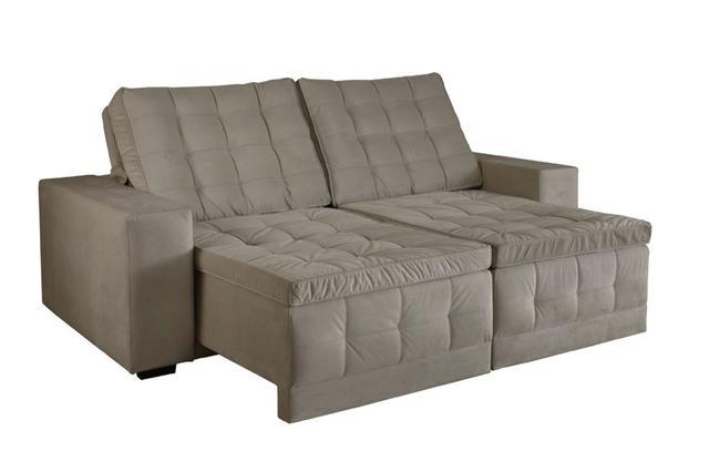 4e16fa72a Imagem de Sofá assento retrátil e encosto reclinável 2 lugares 2.3m Arraial Cinza  Estofart