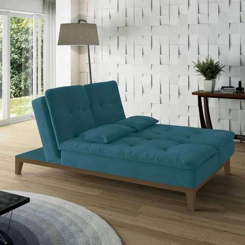 Imagem de Sofá-Cama 3 Lugares Casal Amanda com Pés de Madeira Suede Azul