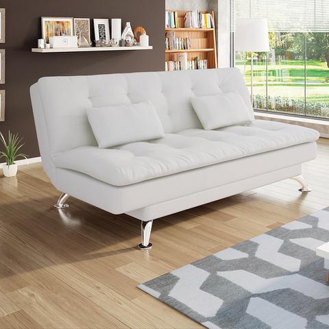 Imagem de Sofá-Cama 3 Lugares Casal Premium Couro Sintético Branco