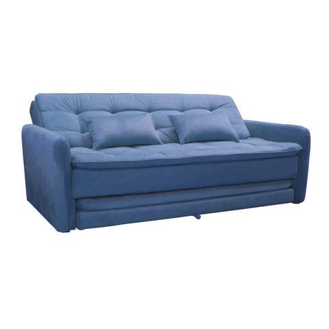 Imagem de Sofá Cama 3 Lugares com 2 Almofadas Madalena Matrix Azul