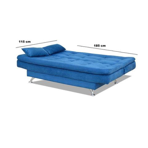 Imagem de Sofá Cama-Bicama Matrix Salomé Em Tecido Suede - Azul