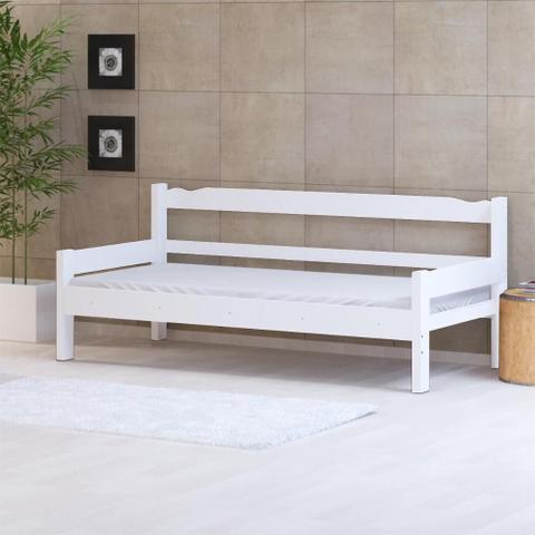 Imagem de Sofá cama solteiro de madeira maciça Nemargi Branco