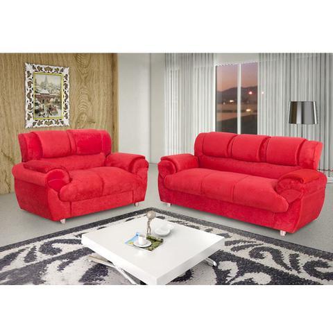 Imagem de Sofá Conjunto com 2 e 3 Lugares em Tecido Suede 7025 vermelho