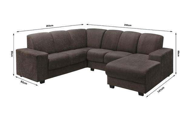 Imagem de Sofa de Canto Leblon 5 Lugares + Chaise Tecido Suede Amassado Marrom Café - Hellen