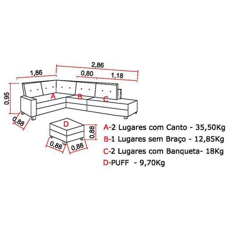 Imagem de Sofá de Canto Mônaco com Puff 6 Lugares  Golden Estofados