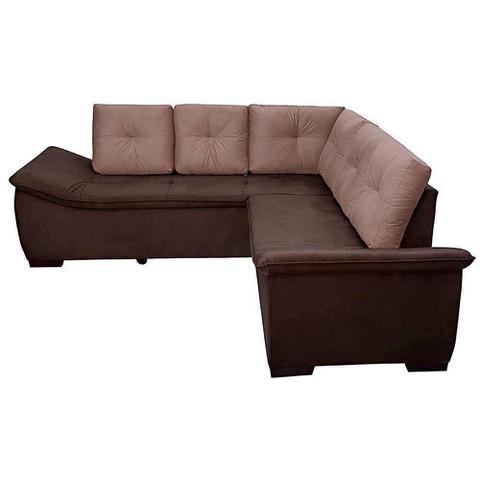 Imagem de sofá de canto new alphaville 4 lugares pluma castor/café