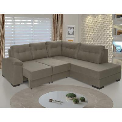 Imagem de sofá de canto retrátil holanda tecido suede pluma castor