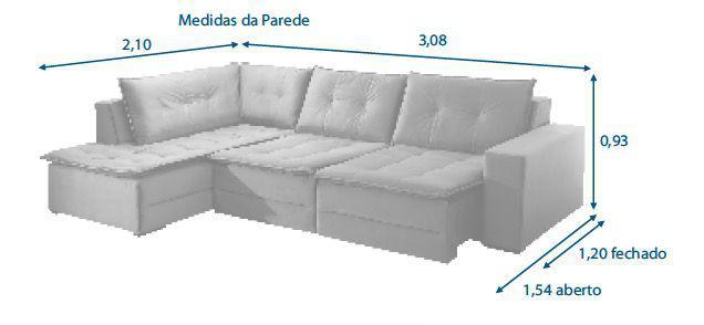 Imagem de Sofá de Canto Retrátil Rondomóveis 310 -  Veludo Jurerê