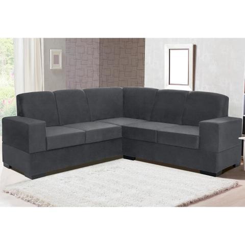 Imagem de sofá de canto suécia tecido suede pluma cinza