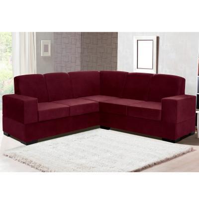 Imagem de sofá de canto suécia tecido suede pluma vinho