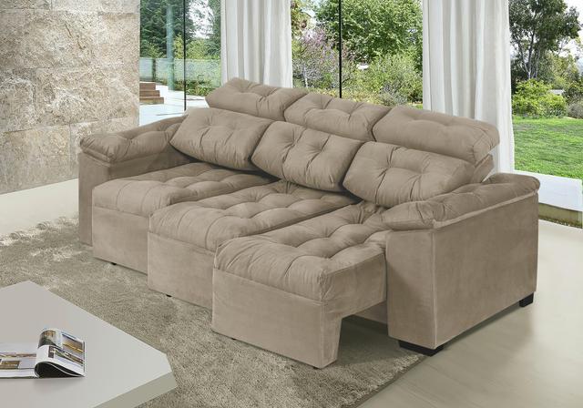 Imagem de Sofa Itália 2,25 Mts Retrátil e Reclinável Tecido Suede Castor - Moveis Marfim