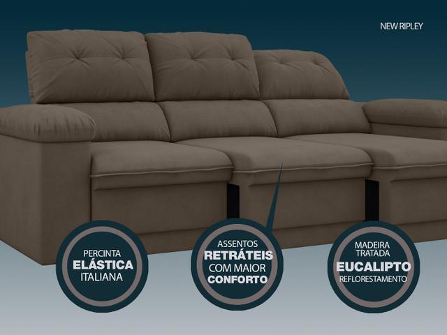 Imagem de Sofá New Ripley 2,05m Assento Retrátil e Reclinável Velosuede Marrom - NETSOFAS