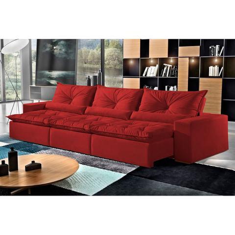 Imagem de Sofá Retrátil e Reclinável 5 Lugares Vermelho em Veludo 3,20m Galahad
