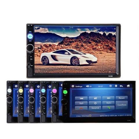 Imagem de Som Automotivo Bluetooth Aux Mp5 Player Touch Fm Tela De 7 Entradas USB, microSD para cartão de memória e Auxiliar (AUX)