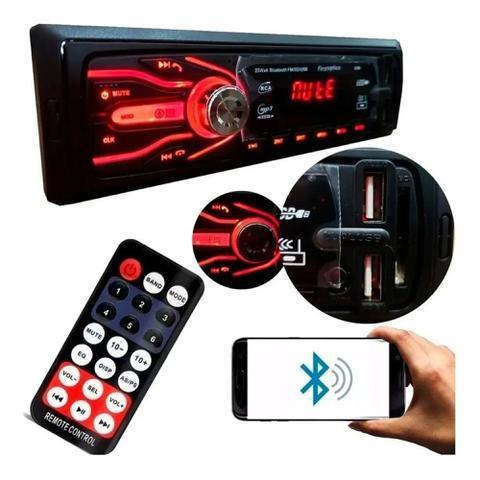 Imagem de Som Automotivo Com Bluetooth Auto Rádio 2x Usb Sd Aparelho Mp3 Player
