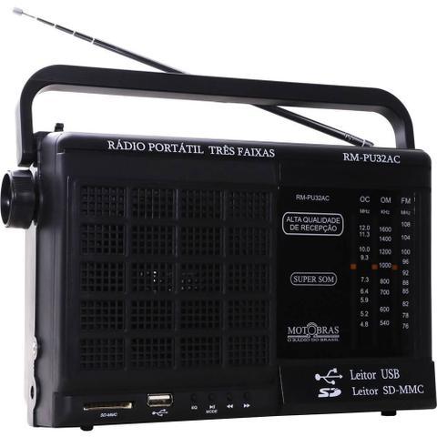 Imagem de Som Portátil Motobras RMPU32AC, AM/FM, USB/SD, Preto - Bivolt