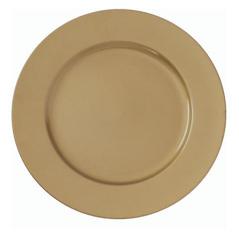 Imagem de Sousplat Redondo Dourado Liso em Polipropileno 33cm Para Mesa Posta Chique