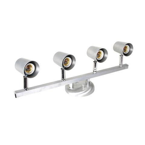 Imagem de Spot Trilho Direcionável para 4 Lâmpadas Versátil Dital Iluminação Aço Escovado