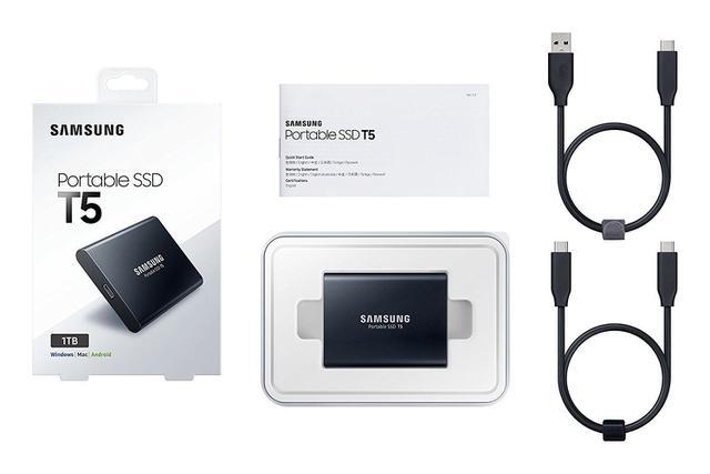 Imagem de SSD 1TB Externo SAMSUNG T5 1TB USB 3.1 TypeC 3D V-NAND Portátil - Modelo MU-PA1T0B/AM