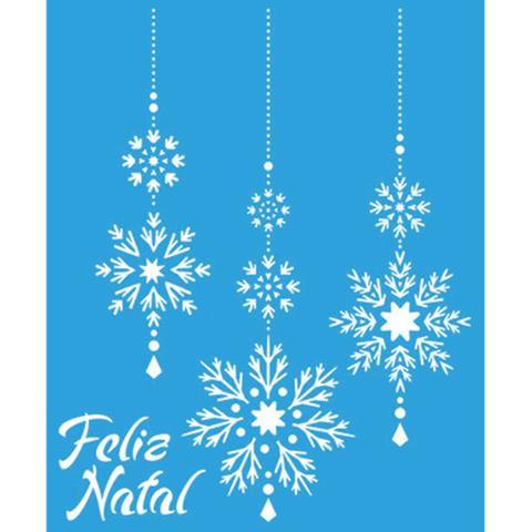 Imagem de Stencil Litoarte Natal 17,2x21,1 STMN-038 Flocos de Gelo Pendurados