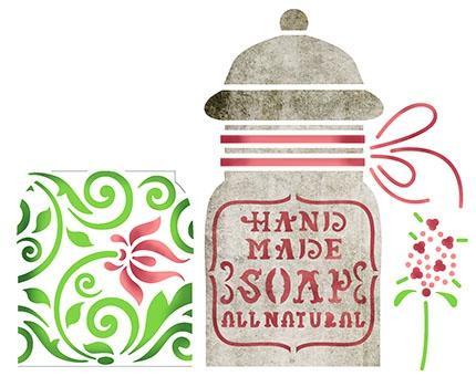 Imagem de Stencil Para Pintura Simples STA-098 Pote Sabonete 14x14cm - Litoarte