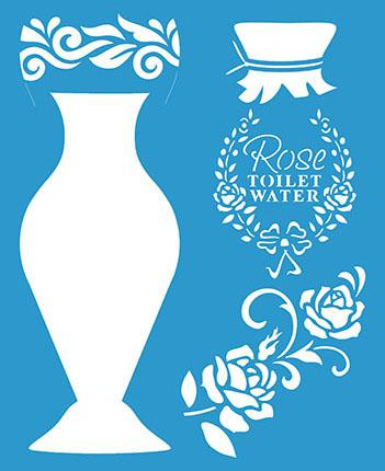 Imagem de Stencil Sobreposição Pintura Vaso 21,1X17,2 STM-628 - Litoarte