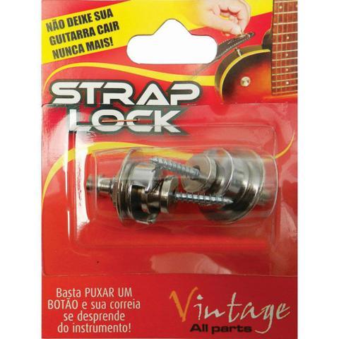 Imagem de Strap Lock Trava Correia Guitarra Violão Baixo Prata Basso