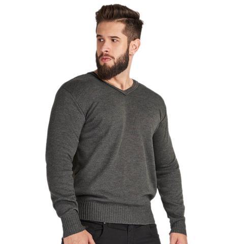 Imagem de Suéter Masculino Tricot Liso Cinza
