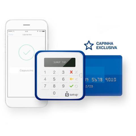 Imagem de SumUp Top A Maquininha de Cartão Sem Aluguel Débito e Crédito Bluetooth + Capinha + Pilhas AAA