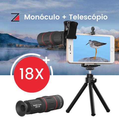 Imagem de Super Lente Apexel Luneta HD 18X Telescópio Tripé Smartphone Celular