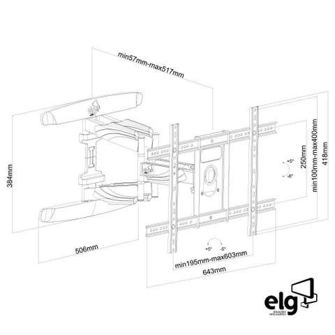 Imagem de Suporte Articulado de Parede para TV LCD LED 3D Curva  de 32 a 75 Polegadas ELG A02V6N