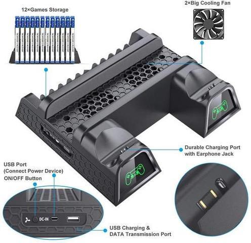 Imagem de Suporte Base Cooler Para Ps4 Com Carregador De Controle marca oivo